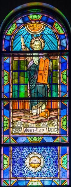 the ten commandments stained glass window