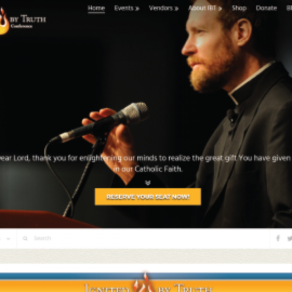 Ignited by Truth Catholic Conference Website Homepage